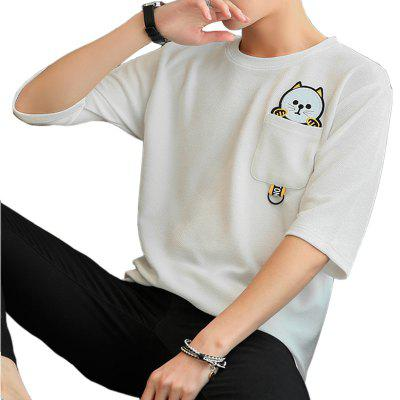 Summer Cartoon Design Contracted Men's Five-Cent Sleeve T-shirt