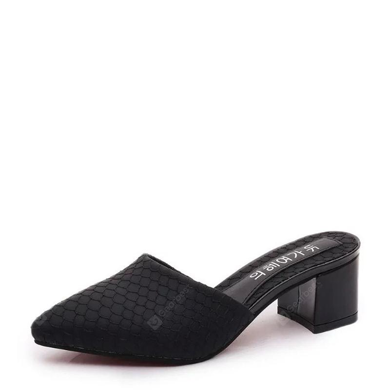 Summer New Thick with Pointed Baotou Shallow Mouth Ms Word Cool Slippers