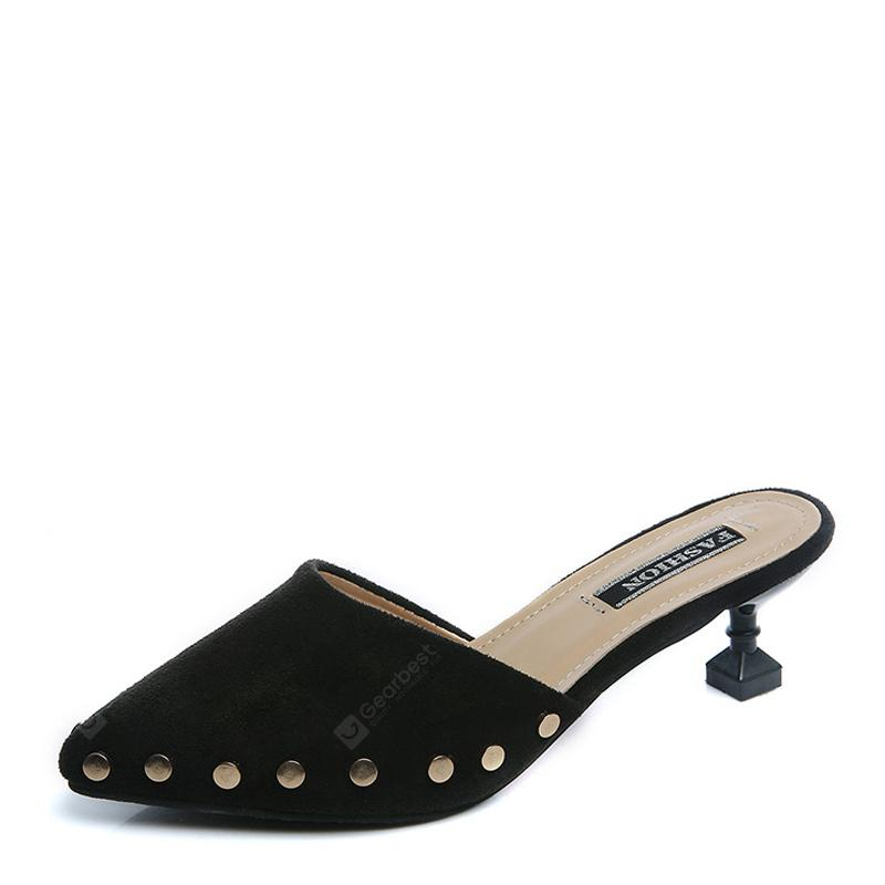 Ms Pointed Fine with Rivet Baotou Fashion Half Slippers