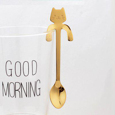 Fashion Piece Cute Cat Spoon Long Handle Spoons Flatware Drinking Tools Kitchen