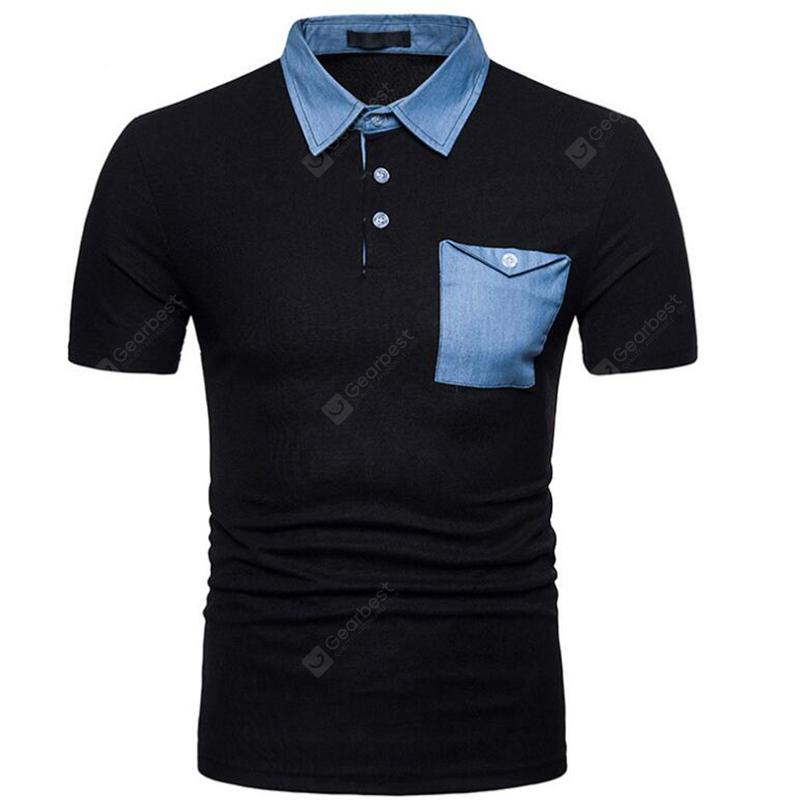 Men Denim Patch Pocket Two Tone Short Sleeve Casual Polo Shirt