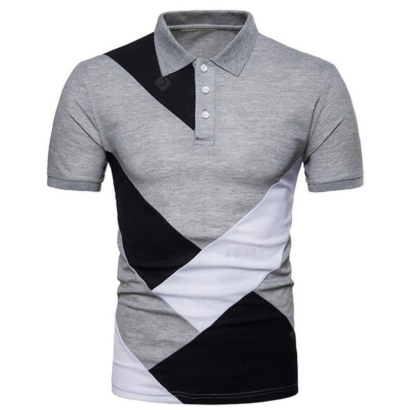 Men Geometric Color Cotton Top Turndown Collar Short Sleeve Polo Shirt