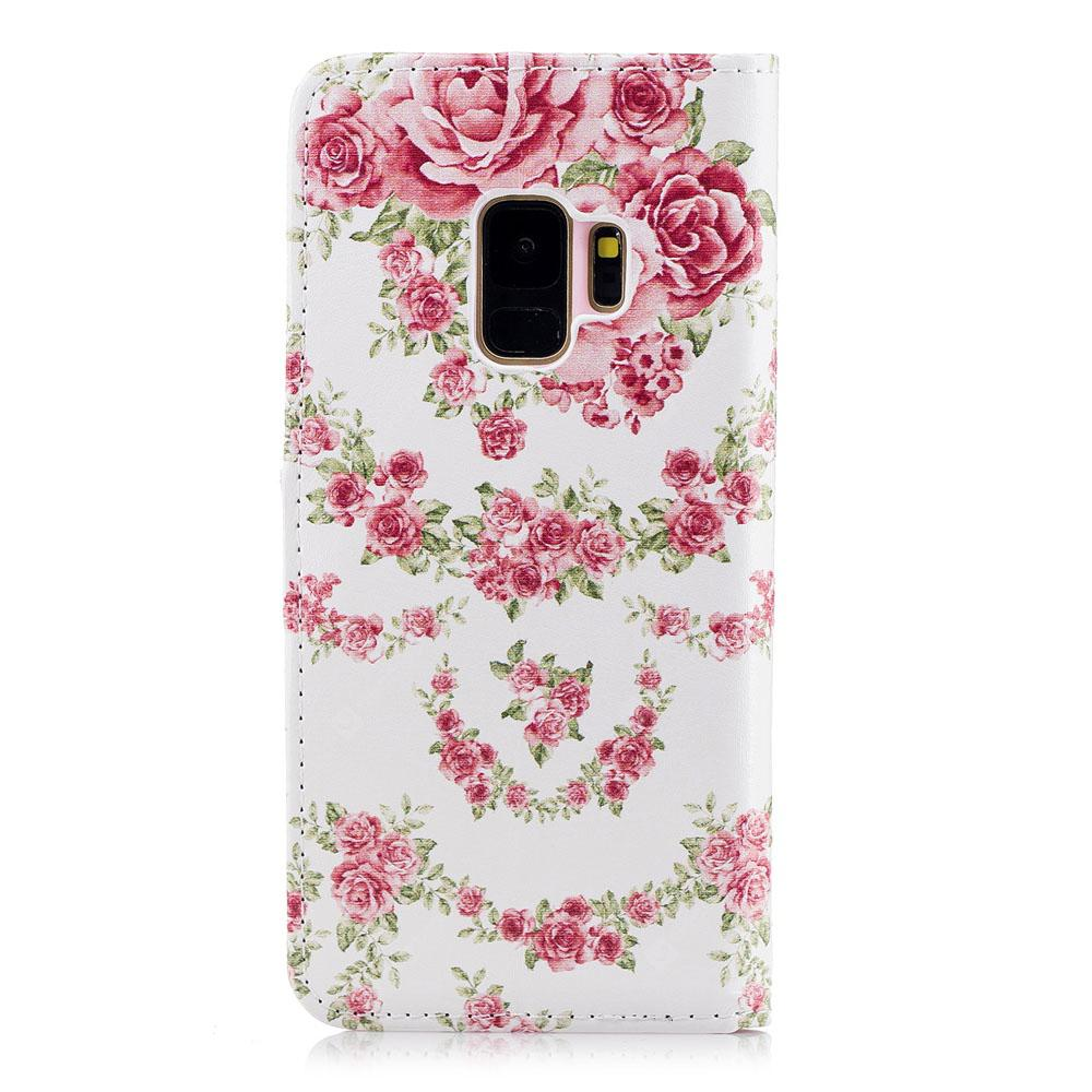 Filp Case for Samsung Galaxy S9 Pink Roses Pattern Wallet Stand Cover