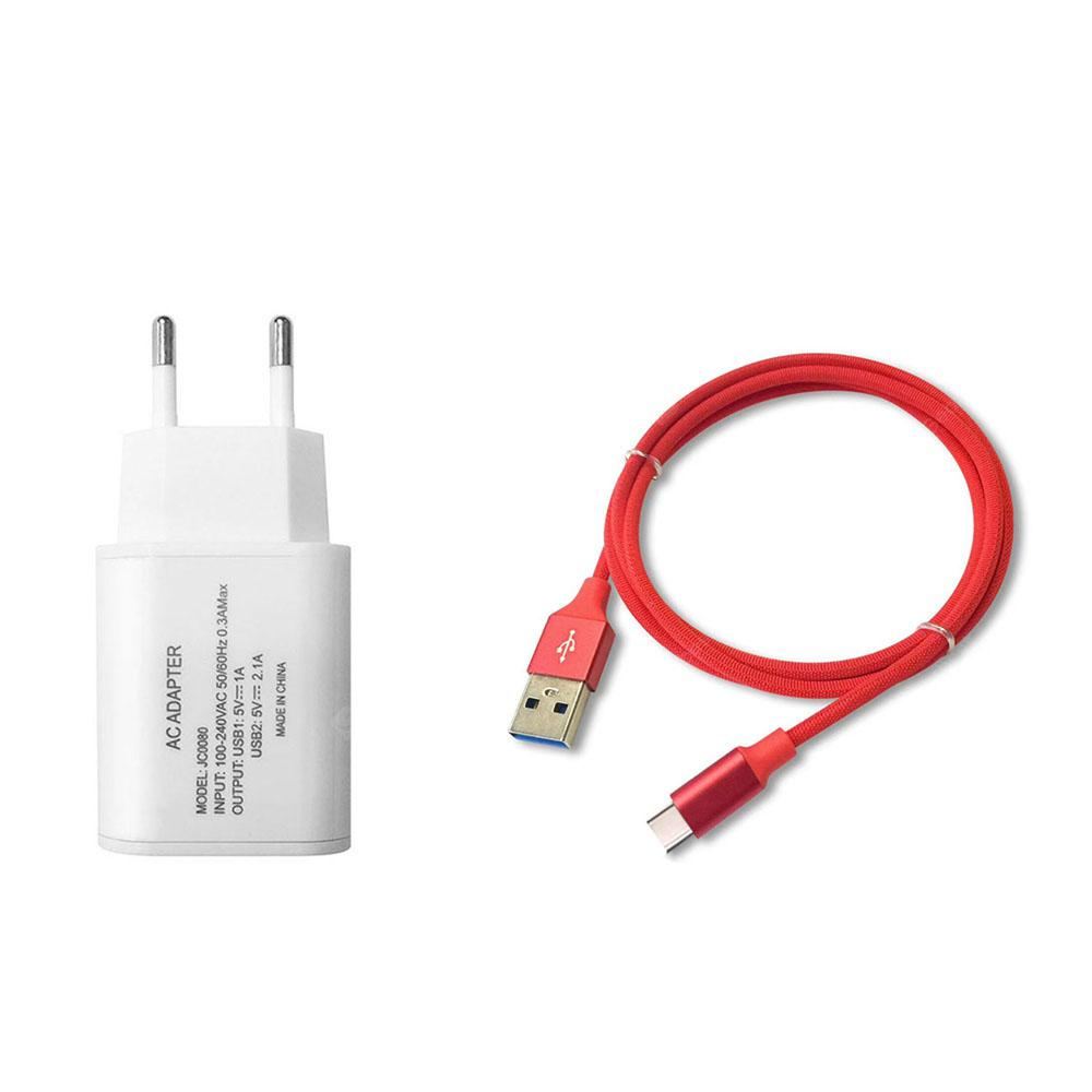 F121 Type-C USB Cable Portable Travel Wall 2USB Charger Adapter EU Plug Phone