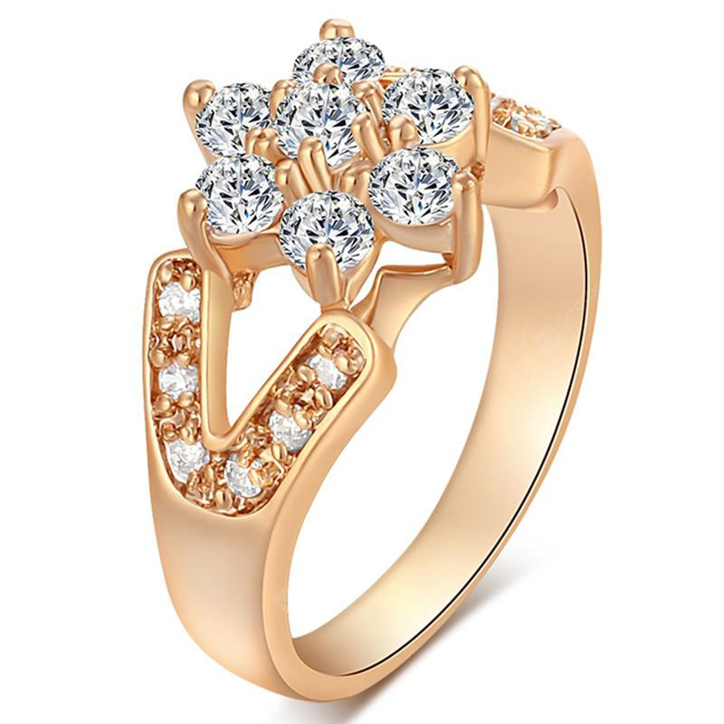 Fashion Micro-inlaid Zircon Flower Ring J1171