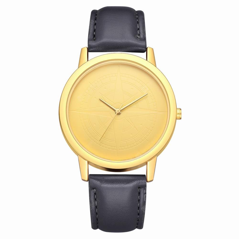 Fanteeda FD109 Women Unique Golden Tone Leather Band Quartz Wrist Watch