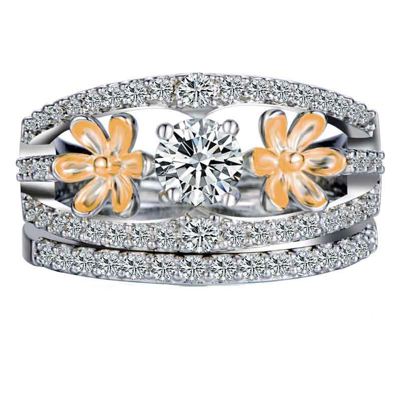 2PCS European and American Style Gold-plated Two-color Couple Flower Ring Set