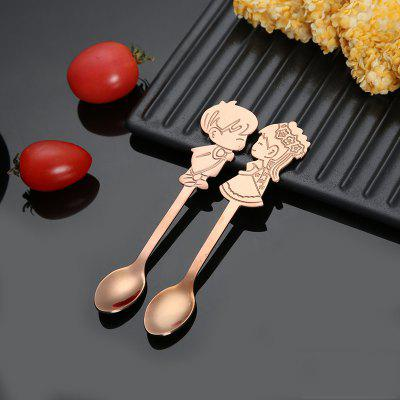 Newly 2PCS Coffee Spoons Gift Set 304SS Lover Mini Small Spoon for Romantic Wedding Cutlery Boys and Girls Drawing Table