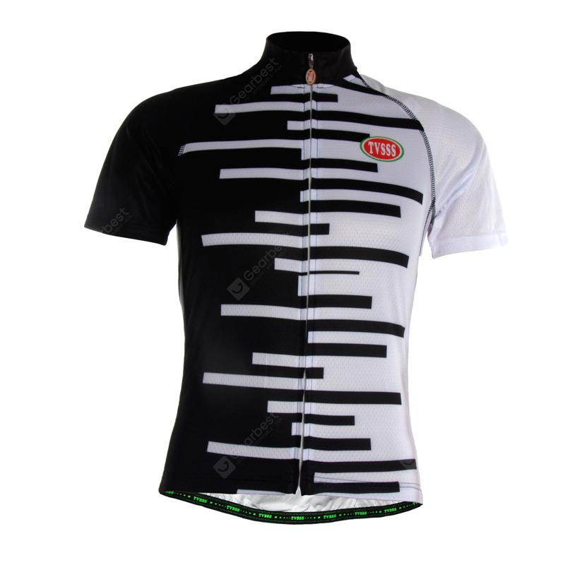 TVSSS Men Black and White Striped Summer Short-Sleeved Cycling Jersey Sportswear