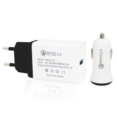 Minismile QC3.0 Quick Charge Power Adapter with QC3.0 Fast Car Charger Kit