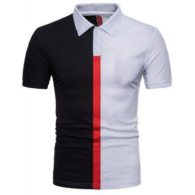 Men Casual Color Block Short Sleeve Polo Shirt