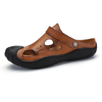 Men Casual Hiking Leather Sandals Slippers