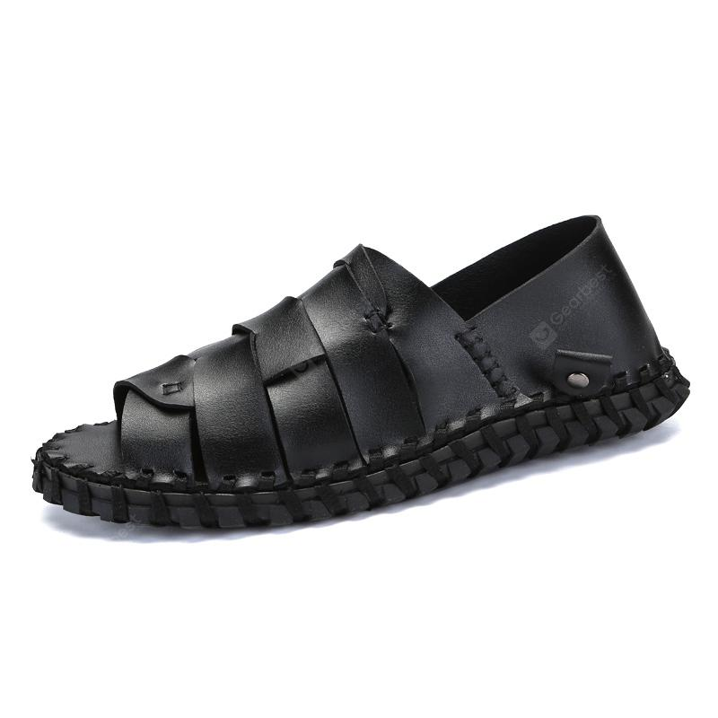 Men Casual Hiking Outdoor Sandals Leather Slippers