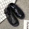 Men Casual Hiking Outdoor Sandals Leather Slippers - BLACK