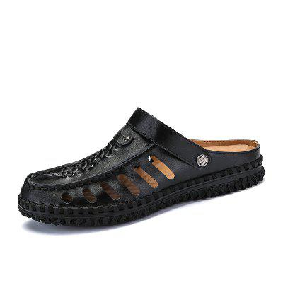 Men Casual Hiking Outdoor Slippers Leather Sandals