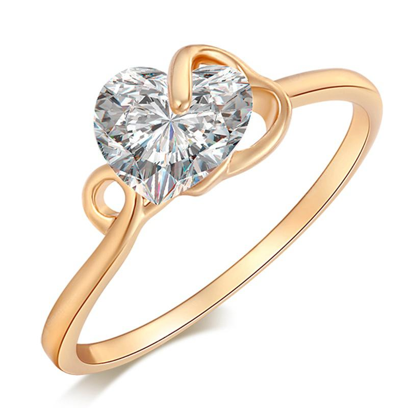 Fashionable and Simple Hollow  Heart-shaped Zircon Ring J1342