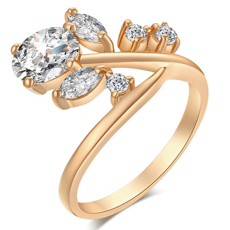 Fashionable Lovely Tree Branch Exquisite Zircon Ring J1359