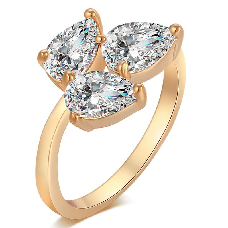 Fashionable Three Leaves Petal Exquisite Zircon Ring J1374