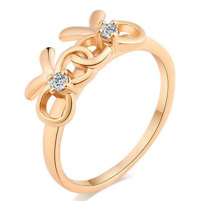 Fashionable Lovely Bowknot Design Exquisite Zircon Ring J1418