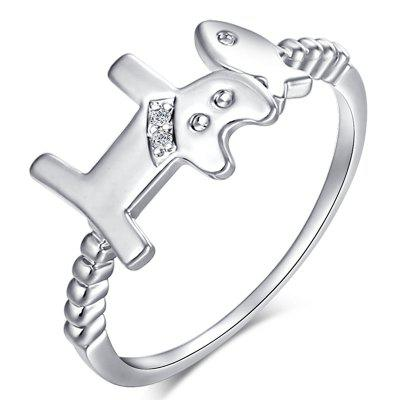 Lovely Cat Eats Fish Exquisite Zircon Ring J1465