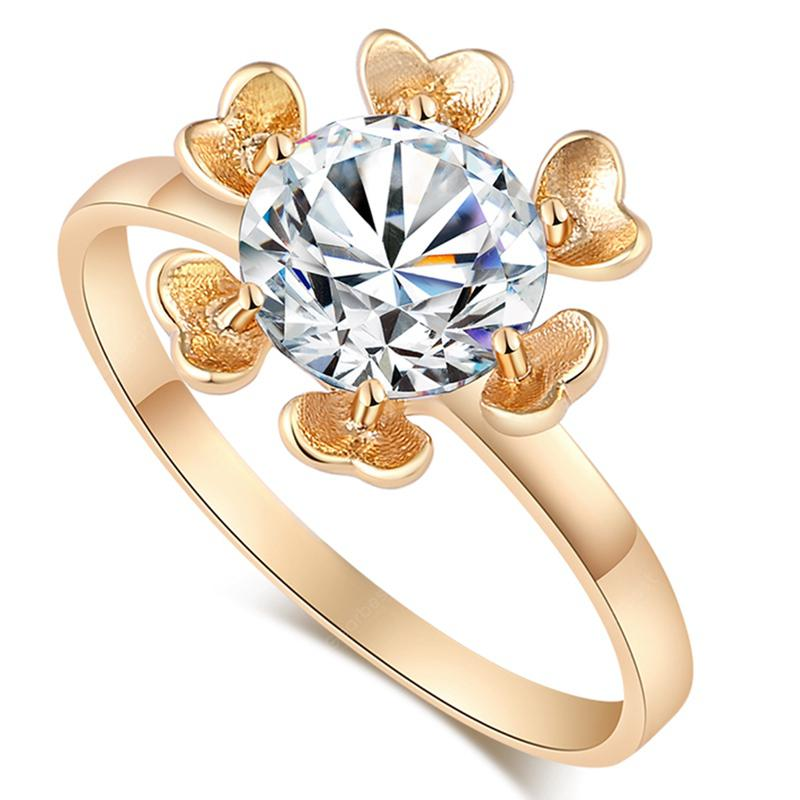 Fashion Simple Petals Decorated with Exquisite Zircon Ring J1515