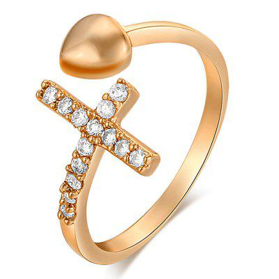 Fashion and Simple Cross-exquisite Zircon Ring J1582