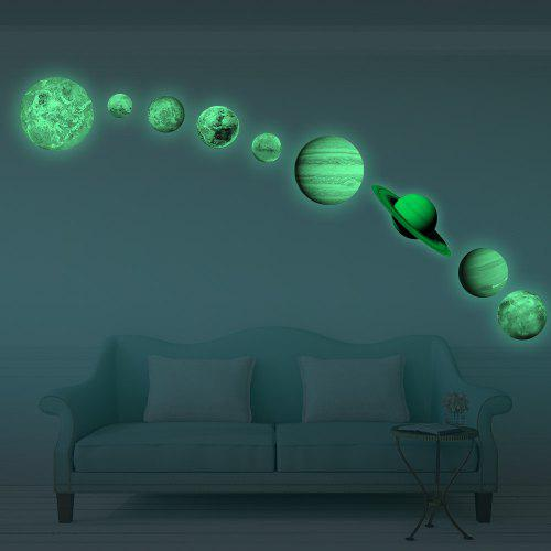 glow in the dark planet wall stickers 9 planets solar system wall