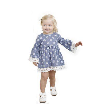 Yoyoxiu CX1129 - 2 Girls Trumpet Long Sleeve Lace Dress