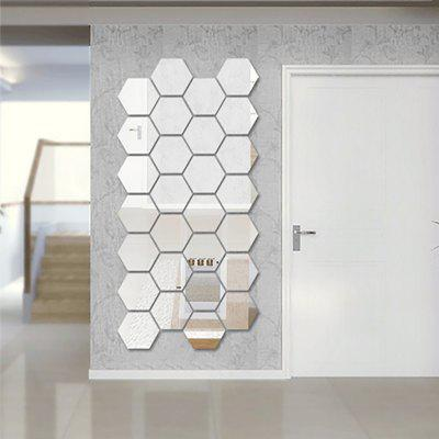 12Pcs Diy Large Hexagon 3D Art Mirror Wall Stickers for Home Decoration