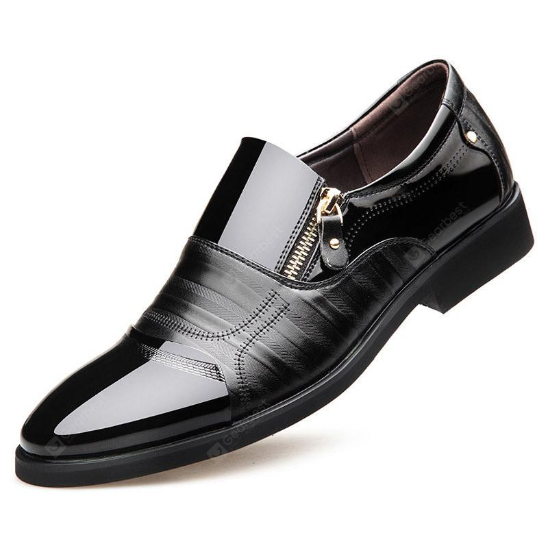 Men Color Blocking Side Zipper Pointed Toe Formal Dress Shoes outlet latest blhlKAbr