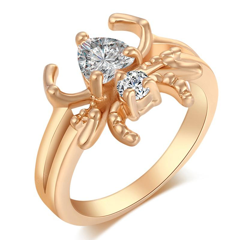 Lovely Personality Spider Zircon Ring J1018