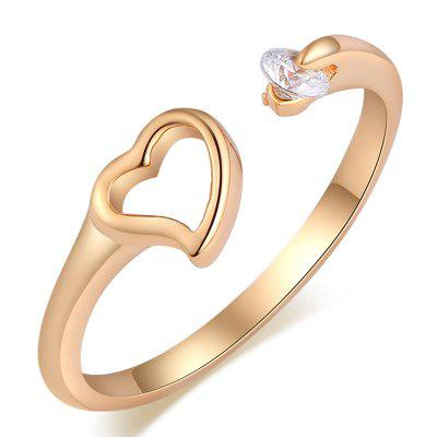 Fashionable and Simple Hollow  Heart-shaped Zircon Ring J1701