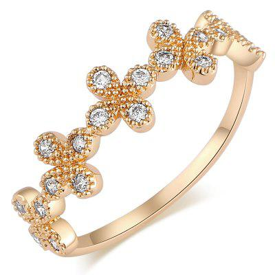 Fashion Simple Flower Group Zircon Ring J1703