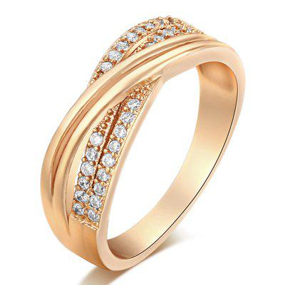 Fashionable and Simple Cross-edged Zircon Ring J1725