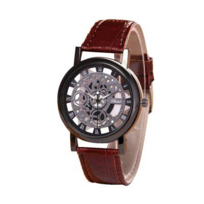 Moda męska Rzeźbione Hollow Quartz Watch