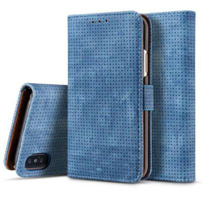 Flip Leather Fundas  Retro Mesh Wallet Cover Stand for iphone X Case