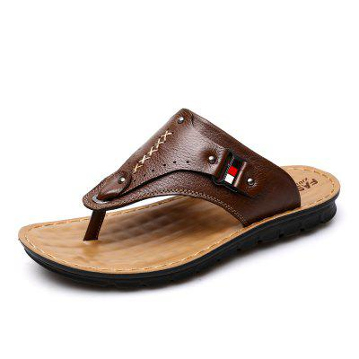 Outdoor Fashion Soft Lightweight Causal Leather Men'S Slipper Flip Flops