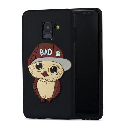 Case for Samsung Galaxy A8 2018 Brown Hat Owl Soft Shell