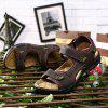 Men Casual Shoes Slippers Leather Sandals - DEEP BROWN