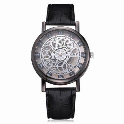 J001 Men Engraving Hollow Leather Band Quartz Dress Watch onlyou lovers watch men women quartz watches retro design real leather band couple dress calendar waterproof gift wristwatches