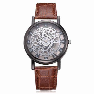 J001 Men Engraving Hollow Leather Band Quartz Dress Watch gucamel automatic mechanical watch hollow out design genuine leather band for men