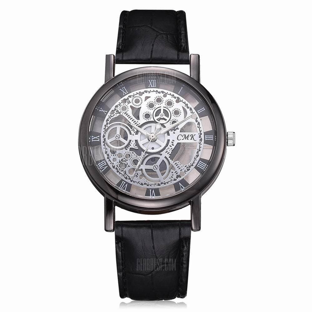 case design image products product hollow logo engraving gold mechanical watches black skeleton leather