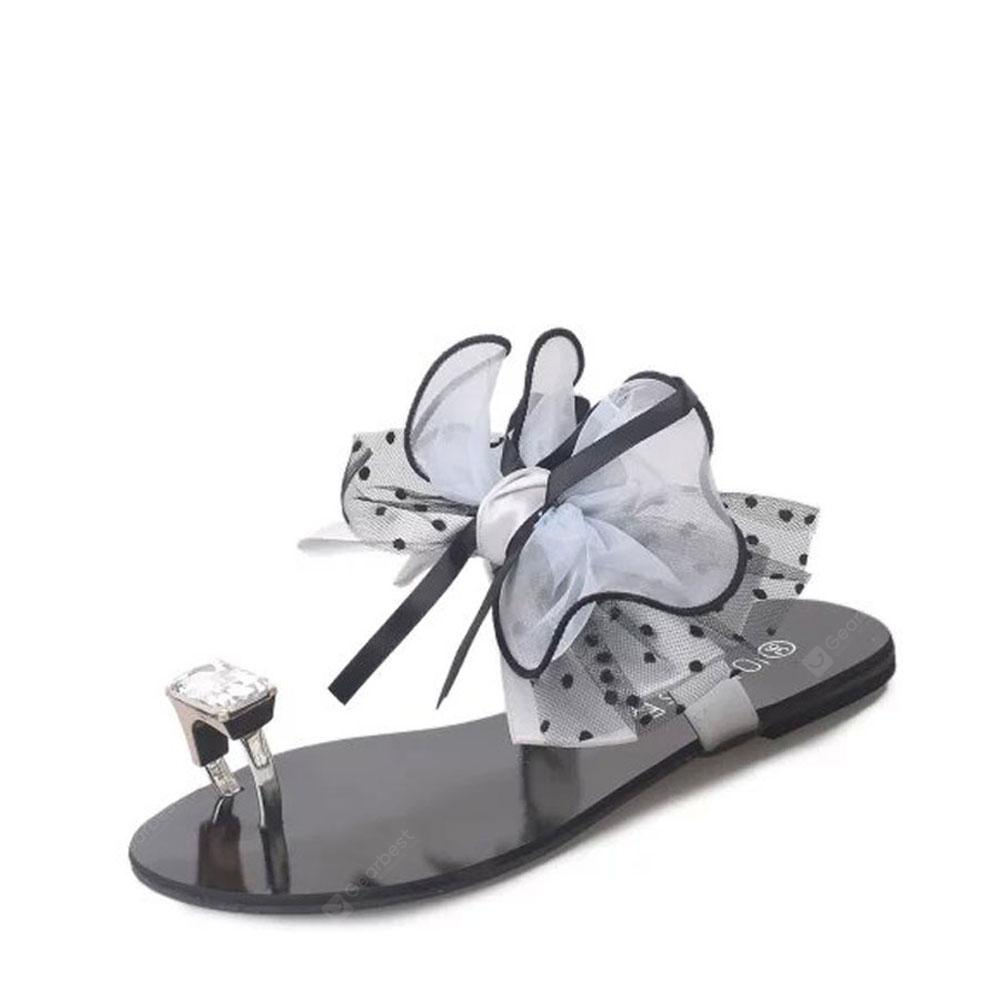 Women's Slippers Fashion Casual All Match Bow-Tie Flat Shoes