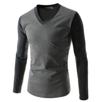 Men's Long Sleeve Color Matching Simple Splicing Design Casual Fashion T-Shirt
