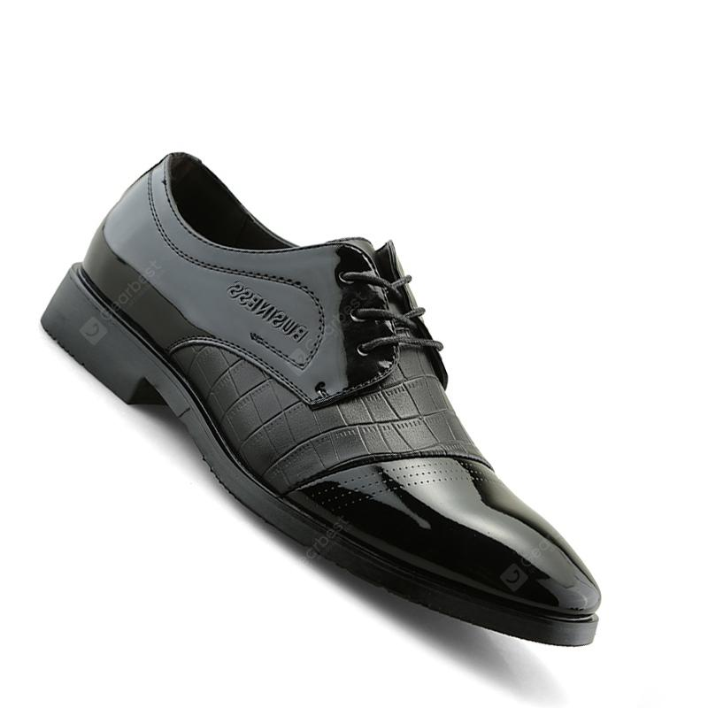 Men Casual Trend of Fashion Rubber Leather Solid Outdoor Wedding Busness Shoes - Black 43 purchase cheap online sJgTcPBTk