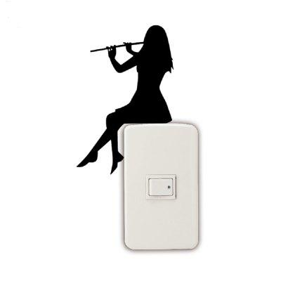 Girl Playing Flute Silhouette Light Switch Sticker Classical Music Wall Stickers