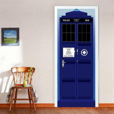 The Police Box Door Stickers 3D PVC Self Adhesive Wallpaper Removable Door  Decal