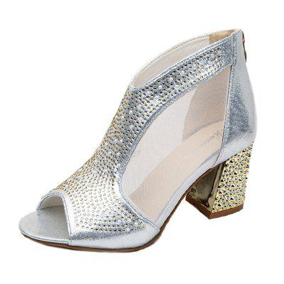 Women Leather Rivets Zipper Fish Mouth Rough With Thick High Heeled Sandals Shoe