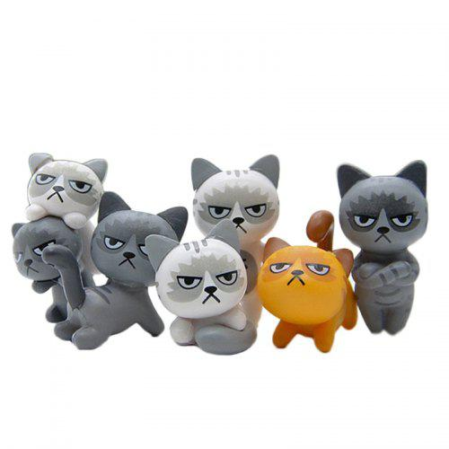 Gearbest Super Cute Lovely Unhappy Cats Action Figure Toy Kids Gifts 6pcs - MULTI-A