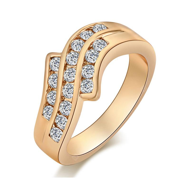 Fashion Micro-inlaid Lovely Trajectory of Zircon Ring J0336